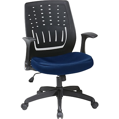 Office Star Fabric Screen Back Chair with Contoured Plastic Arm, Navy Fabric Seat