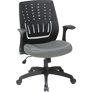 Office Star Fabric Screen Back Chair with Contoured Plastic Arm, Gray Fabric Seat
