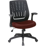 Office Star Fabric Screen Back Chair with Contoured Plastic Arm, Burgundy Fabric Seat