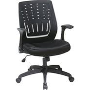 Office Star Fabric Screen Back Chair with Contoured Plastic Arm, Black Fabric Seat
