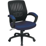 Office Star Screen Back Fabric Over Designer Contoured Shell Chair with Padded Arm, Navy