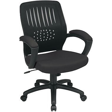 Office Star EM59722-231 Work Smart Mesh Task Chair with Fixed Arms, Black