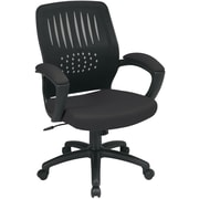 Office Star Screen Back Fabric Over Designer Contoured Shell Chair with Padded Arm, Black