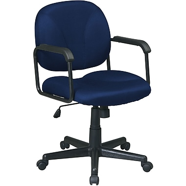 Office Star WorkSmart™ Polyester Mid Back Executive Chair with Loop Arm, Navy