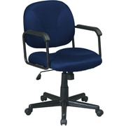 Office Star EX3301-225 Work Smart Fabric Mid-Back Executive Chair with Fixed Arms, Navy