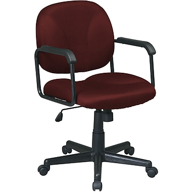 Office Star WorkSmart™ Polyester Mid Back Executive Chair with Loop Arm, Burgundy