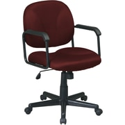 Office Star EX3301-227 Work Smart Fabric Mid-Back Executive Chair with Fixed Arms, Burgundy