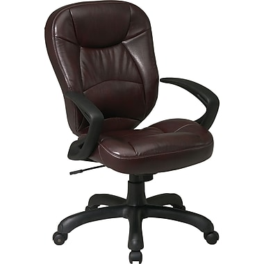 Office Star WorkSmart™ Deluxe Faux Leather Oversized Task Chair with Padded Arm, Chocolate