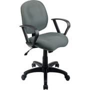 Office Star Worksmart Gray Mid-Back Fabric Task Chair, Fixed Arms
