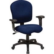 Office Star SC66-225 Work Smart Fabric Mid-Back Task Chair with Adjustable Arms, Navy