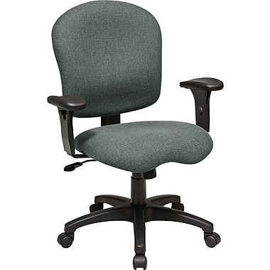 Office Star SC66-226 Work Smart Fabric Mid-Back Task Chair with Adjustable Arms, Gray