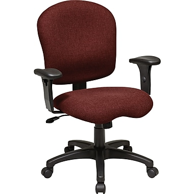 Office Star WorkSmart™ Fabric Task Chair with Saddle Seat and Adjustable Soft Padded Arm, Burgundy