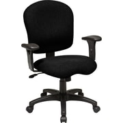 Office Star WorkSmart™ Fabric Task Chair with Saddle Seat and Adjustable Soft Padded Arm, Black