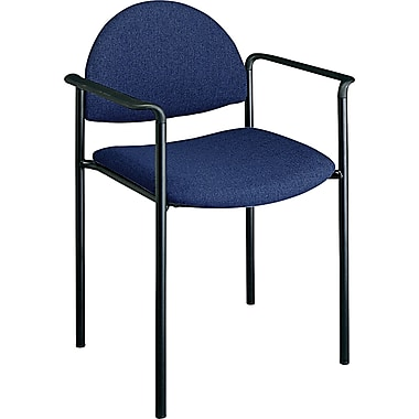 Office Star Value Plus Fabric Stacking Chair with Arm, Navy