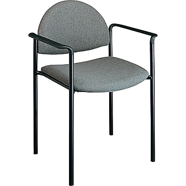 Office Star Value Plus Fabric Stacking Chair with Arm, Gray
