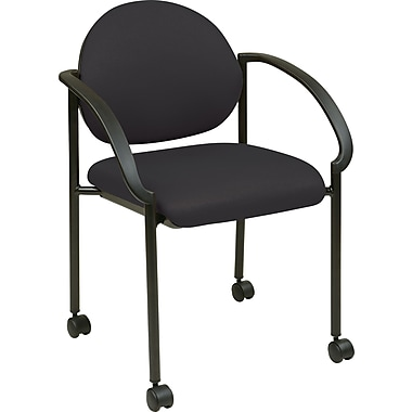 Office Star WorkSmart™ Fabric Stacking Chair with Arm, Casters and Plastic Shell Back, Black