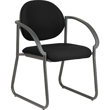 Office Star WorkSmart™ Fabric Deluxe Sled Base Arm Chair, Black