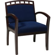 Office Star WorkSmart™ Fabric Deluxe Mahogany Finish Guest Chair, Navy