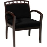 Office Star WorkSmart™ Fabric Deluxe Mahogany Finish Guest Chair, Black