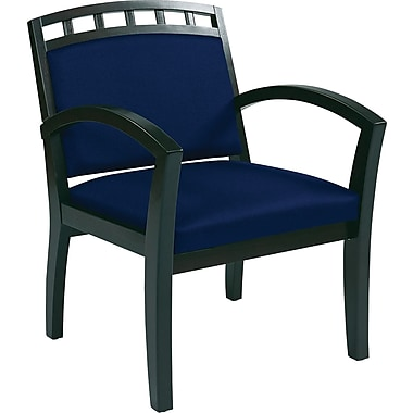 Office Star WorkSmart™ Fabric Deluxe Espresso Finish Guest Chairs, Navy