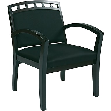 Office Star WorkSmart™ Fabric Deluxe Espresso Finish Guest Chair, Black
