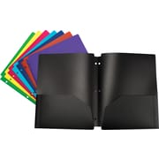 Storex Poly 2-Pocket Folders, Assorted Colors