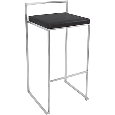 Lumisource Fuji Leatherette Stacker Bar Stool, Black