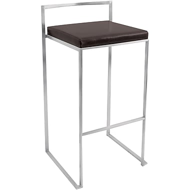 Lumisource Fuji Leatherette Stacker Bar Stool, Wenge