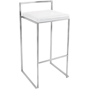 Lumisource Fuji Leatherette Stacker Bar Stool, White