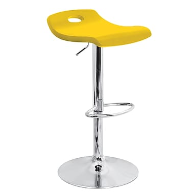 LumiSource Surf 36'' Modern Adjustable Height Wood Bar Stool, Yellow (BS-TW-SURFY)