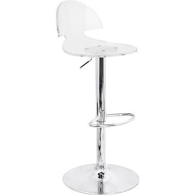 Lumisource Venti Chrome Bar Stool, Clear