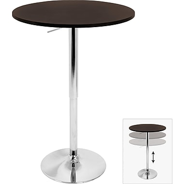 Lumisource 26in. - 41in. x 23 1/2in. Wood Adjustable Bar Table, Brown