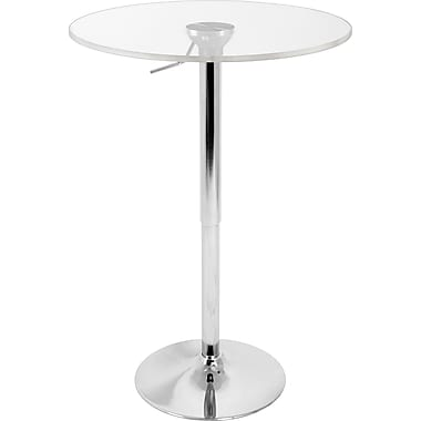Lumisource 26in. - 41in. x 23 1/2in. Wood Adjustable Bar Table, Clear