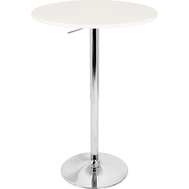 Lumisource 26in. - 41in. x 23 1/2in. Wood Adjustable Bar Table, White