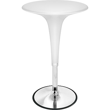 Lumisource Gelato 31in. - 40in. x 24in. Plastic Bar Table, White