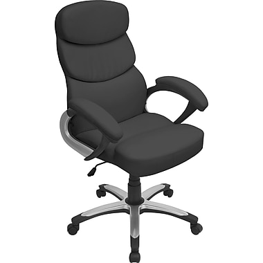 LumiSource OFC-AC-DOC BK Doctorate Leatherette High-Back Managers Chair with Fixed Arms, Black