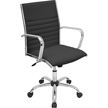 LumiSource Master Mid-Back Leatherette Task Chair, Fixed Arms, Black