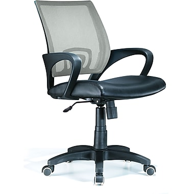 LumiSource OFC-OFFCR SV Leatherette Mid-Back Task Chair with Fixed Arms, Silver/Black