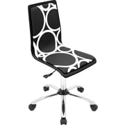 LumiSource OFC-TM-PCRC BK Task Chair Armless Printed Circles, Black/White