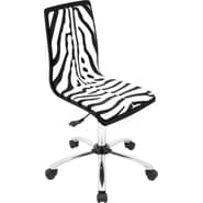 Lumisource PVC Foam Mid Back Printed Computer Chair, Black, Zebra