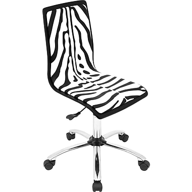 LumiSource Zebra Fabric Computer and Desk Office Chair, Armless, Black/White (OFC-TM-PZBBK+W)