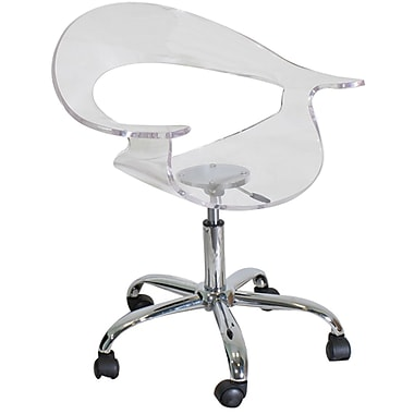 LumiSource CHR-TW-RUMOR CL Acrylic Desk Chair with Fixed Arms, Clear