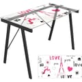 Lumisource Graphic Top Tempered Glass Exponent Office Desk, Love in Paris