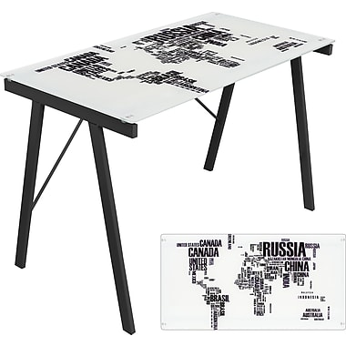 Lumisource Graphic Top Tempered Glass Exponent Office Desk, World Map