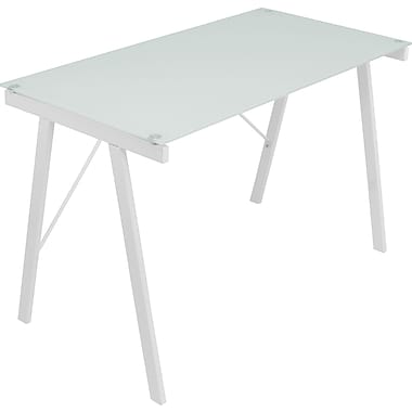 Lumisource Exponent Tempered Glass Office Desk, White