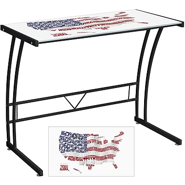 Lumisource Graphic Top Tempered Glass Sigma Computer Desk, USA Flag