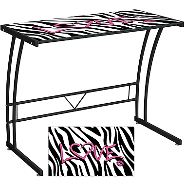 Lumisource Graphic Top Tempered Glass Sigma Computer Desk, Zebra Love