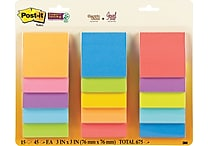 Post-it® Super Sticky 3' x 3' Assorted Color Notes, 15 Pads/Pack