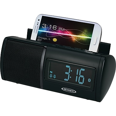 Jensen JBD-100 Universal Bluetooth Clock Radio w/ Charging for all Smartphones