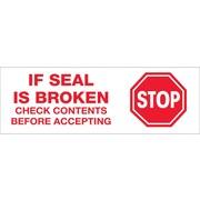Tape Logic™ 3 Pre Printed Stop If Seal Is Broken Carton Sealing Tape, Red On Tan, 24/Case